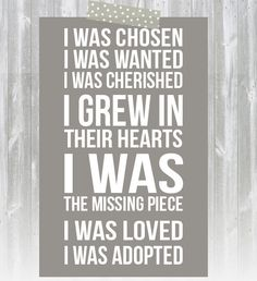 Adoption Print  I Was Chosen Print  Adoptive by AugustBloomDesigns, $12.95