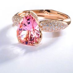 Natural Ballerina Pink Brazilian Morganite, hand cut and set by Kat Florence. Available online till April 27th!