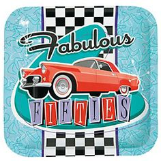 Fabulous Fifties Dinner Plates - 8 Pk Party Supplies Canada - Open A Party