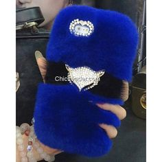 Bling Rhinestone Fox Soft Faux Rabbit Fur Case for iPhone 5 / 5S - Dark Blue