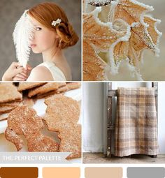 {party palette}: feathers + frost ~ shades of brown, orange and gray!