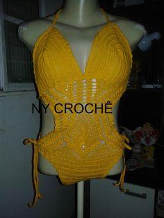 Body de crochê feito com linha camila faschion