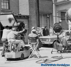 "Director Bob Sweeney and crew on the Desilu Studios ""40 Acres"" backlot"