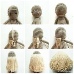 Cheveux de poupée faits de laine crochetée et collée à la tête de la poupée 「髪型 夏 あみぐるみ」の画像検索結果 doll hair made with yarn knitted with crochet and then glued to the doll's head – Artofit Crochet Doll Pattern, Crochet Patterns Amigurumi, Amigurumi Doll, Crochet Dolls, Crochet Baby, Knitted Baby, Doll Wigs, Doll Hair, Tutorial Amigurumi