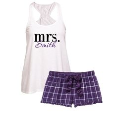 mrs. Boxer Set #mrs #wedding #bride #beforetheidos http://www.beforetheidos.com/mrs-LAST-NAME-Flowy-Tank-and-Purple-Plaid-Boxer-p/jap-bct87_f41pspmrsbs.htm