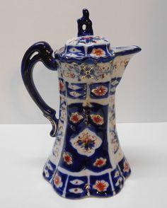 Vintage Porcelain Chocolate Pot Teapot Cobalt Blue Red Rust Flowers w/ Gold Accents