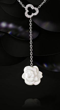 Chanel white agate & diamond pendant