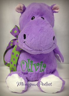 Personalized Purple 16 Plush Hippo Soft Toy by MonogramPerfect, $34.95