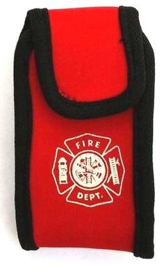 FIRE DEPARTMENT RED NEOPRENE POUCH WITH BELT/BAG CLIP AND MALTESE CROSS DESIGN