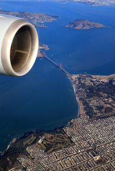 Flying over the Golden Gate & San Francisco, California, USA