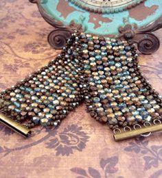 "Peyote Stitch Bracelet ~ Czech Glass Beaded Clasp Cuff  ~ Statement Piece ~ ""Halo Line"" Seed Bead Beauty ~Peyote Chic by Country Chic Charms"