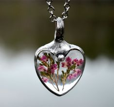 Resin Real Flower Necklace Pink Heather Jewelry Heart by BayouGlassArts