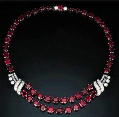 Art Deco Cushion-Cut Ruby And Baguette-Cut Diamond Necklace - Christie's. Sapphire Necklace, Gemstone Necklace, Pendant Necklace, Ruby Jewel, Ruby Red, Art Deco Jewelry, Jewellery Box, Stylish Jewelry, Jewelry Accessories