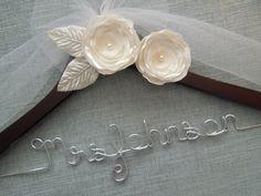 IVORY Flowers leaves and tulle, Brides Hanger, Wedding Name Hanger, Bridal Hanger, Wedding Dress hanger, Custom Wedding Hanger