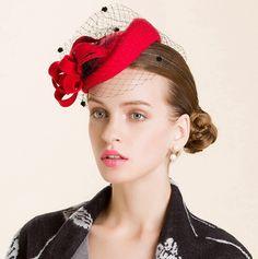 Red fascinators pillbox hat with veil for women flower decoration felt hats