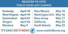 The last states you have time to register as Democrat in. Hurry! #FeelTheBern #BernieSanders #VoteBernie #Bernie2k16 #polls #caucus #VoterInfo #BernieRally #Vote #WyomingForBernie #WyomingCaucus #WyomingPrimary #NewYorkPrimary #NewYorkCaucus #NewYorkForBernie #NewYork #VoterSuppression #NYForBernie #WomenForBernie #LatinosForBernie #Independent #Democrat #Register #ClosedPrimary