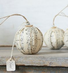 rustic christmas decoration tree ornaments music sheets