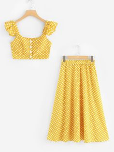 Spot Crop Ruffle Top With SkirtFor Women-romwe Cute Comfy Outfits, Casual Dress Outfits, Teen Fashion Outfits, Cute Summer Outfits, Girl Fashion, Fashion Dresses, African Dresses For Kids, Girls Dresses, Ruffle Top