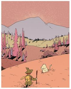 snufkin & moomintroll in the valley - A gallery-quality illustration art print by F Choo for sale.