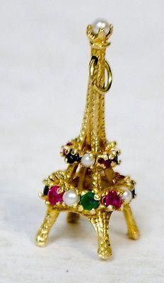 14 KT Yellow Gold Eifel Tower Charm with 21 Gemstones 6.2 Grams   Jewelry & Watches, Fine Jewelry, Fine Charms & Charm Bracelets   eBay!