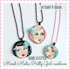 Hand sculpted mixed media pretty girl necklaces by jenny& Aaron of Everyday is a Holiday.