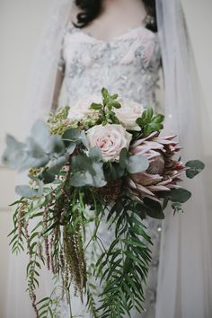 cascading protea bouquet