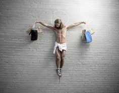 Jesus with shopping bags