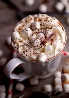 A cup of hot cacao with marshmallows in it