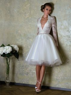 Bien Savvy Evening Gowns | Lace top and ballerina skirt wedding dress FRENCH LOVE by BIEN SAVVY