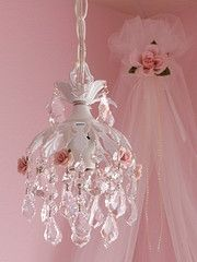 Chandelier and canopy with roses