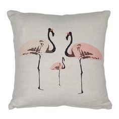 Coussin Mini carre lin ecru 30cm x 30cm Fete de Flamant Rose SPACE 1A DESIGN