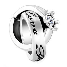Pugster Birthstone Charms Clear White Elements Crystal Interlinked Ring Love Forever Bead