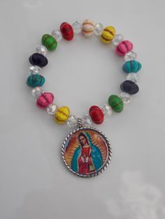 lady of guadalupe charm colorful bracelet mexican by LaCraftyVida