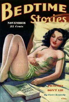 Bedtime Stories (November 1935). Cover art by H.J. Ward (American, 1909-1945). Ward's first sale was to Wild West Stories and Complete Novel Magazine. Sensational pulp covers by H.J. Ward were soon appearing on Ace-High Western, Argosy, Double Detective, and others. Later, Ward became the top artist for Trojan Magazines and did covers for Bedtime Stories, Tattle Tales, Private Detective, and others.