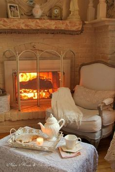 A fireside tea ****And, I love the white surround of the fireplace….wonder … – cozy home comfy Cozy Cottage, Cozy House, Cottage Style, White Cottage, Shabby Cottage, Sweet Home, Relax, Cozy Corner, Cozy Nook