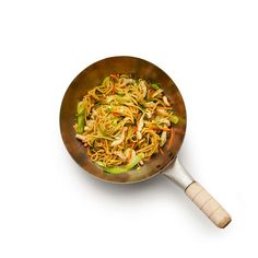 Stir-fry the veg first, then the meat, adding the cooked noodles only at the end.