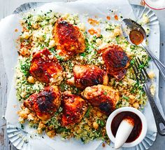 Harissa sticky chicken with couscous No chickpeas in the cupboard? Use cannellini or kidney beans in this easy chicken dish with fragrant coriander couscous and a spicy harissa paste glaze Bbc Good Food Recipes, Meat Recipes, Chicken Recipes, Cooking Recipes, Healthy Recipes, Healthy Chicken, Dinner Recipes, Dessert Recipes, Chicken Couscous