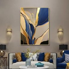 Large Wall Canvas, Canvas Wall Art, Large Canvas Paintings, Painted Canvas, Hand Painted, Canvas Painting Landscape, Painting Abstract, Blue Painting, Geometric Painting