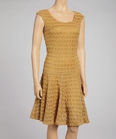Take a look at this Gold Zigzag Knit Drop-Waist Dress by Sharagano on #zulily today!