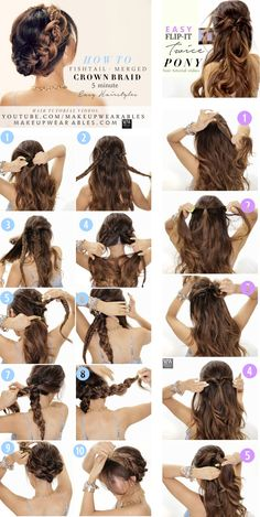 easy hairstyles steps - braided updo half-up half-down hair style tutorial