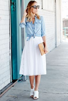 Denim shirt, white skirt, shoes
