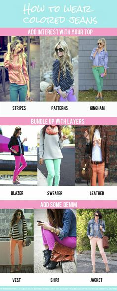 how to wear colored jeans