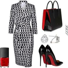 A fashion look from November 2017 by flybeyondtheskies featuring Christian Louboutin and NARS Cosmetics Classy Outfits, Chic Outfits, Fashion Outfits, Womens Fashion, Fashion Trends, Church Fashion, Work Fashion, Fashion History, Fashion Fashion