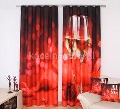 Modna zasłona 3D w kolorze czerwonym z kieliszkami