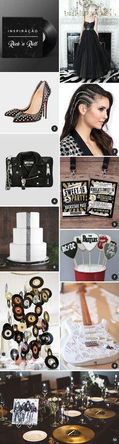 Que tal uma festa de 15 anos com tema rock? Vem ver nosso moodboard com 10 ideias lindas - tem vestido, convite, bolo, decoração...