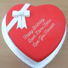 Best #1 Website for name birthday cakes. Write your name on Heart Birthday Cake…