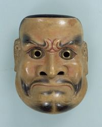 Noh mask, Kobeshimi (a powerful deity), one of 47 Noh masks formerly owned by Konparu Sōke (the leading family of the Konparu school), Wood, colored Muromachi-Meiji period/15-19th century Originally owned by Konparu-za. Tokyo National Museum.