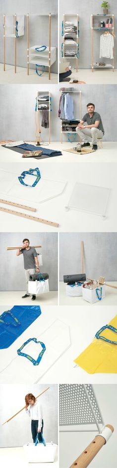 """The """"Out of the Bag"""" concept utilizes IKEA's very own Frakta bag to form on-the-go furniture that's easily assembled in seconds. No, seriously… seconds… unlike true IKEA  Read Full Story at Yanko Design"""