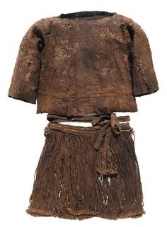 The Egtved Girl - More from Denmark. A Bronze Age costume which was found on a girl, 16-18 years old, who had been buried in a oak coffin near Egtved, Denmark. The girl died in around the year 1370 BC and was also interred with the cremated remains of of a 5-6 years old child. The striking cord skirt went down to the girl's knees and was wound twice around her waist.