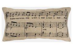 One Kings Lane - Neutrals with a Twist - Music Sheet 11x21 Pillow, Beige/Black